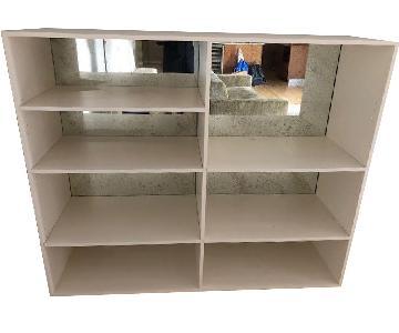 White Bookcase w/ Mirrored Back