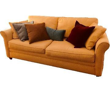 Ashley Pale Yellow Linen Weave Sleeper Sofa