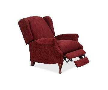 Macy's Red Jacquard Wingback Recliner