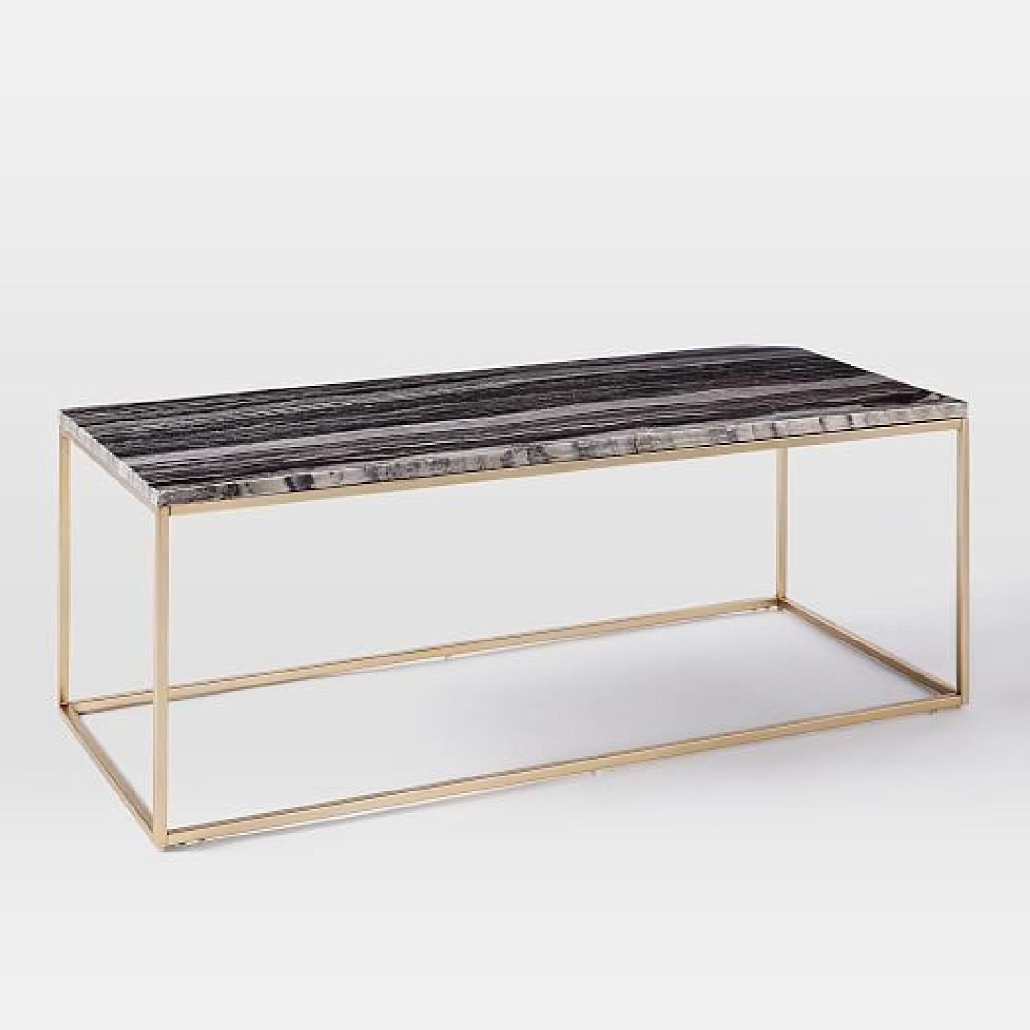 West Elm Box Frame Marble Coffee Table - image-4