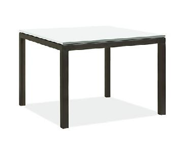 Room & Board Parsons Table in White Tempered Glass