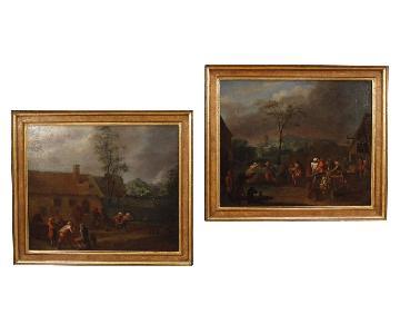 18th Century Oil on Canvas Flemish Popular Scenes Paintings