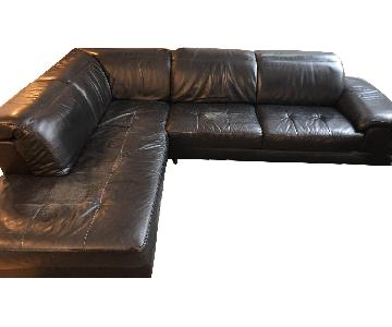 Black Leather L-Shaped Sectional Sofa