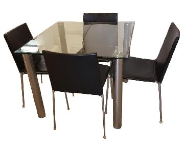 Glass & Metal Dining Table w/ 4 Chairs