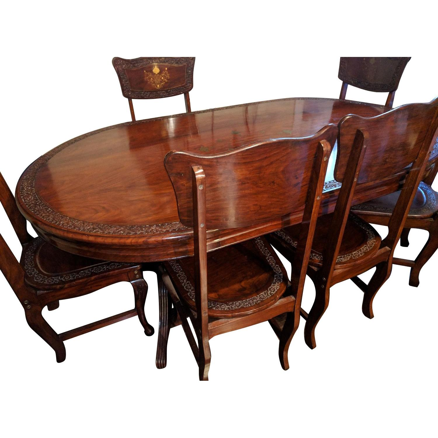 Middle Eastern Hand-Carved Brass Inlaid 7-Piece Dining Set