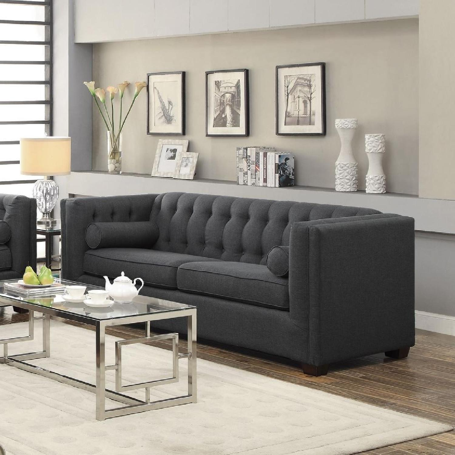 Charcoal Modern Tufted Sofa - AptDeco