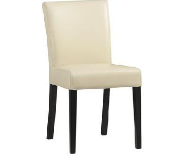 Crate & Barrel Leather Dining Chairs in Ivory