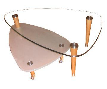 Transparent Greenish Glass Coffee Table