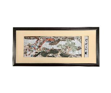 Vintage Wall Art Panel Chinese Embroidery Harbor Scene