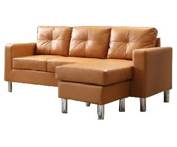 Zipcode Design Faux Leather Sectional Sofa & Ottoman