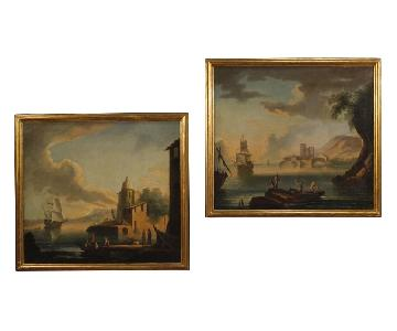 18th Century Oil on Canvas Italian Seascapes Paintings