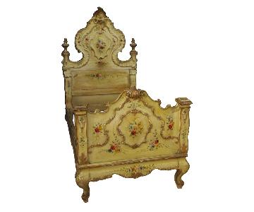 20th Century Lacquered, Painted, Gilt Wood Venetian Bed