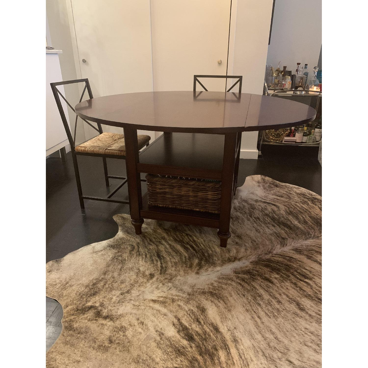 Pottery Barn Shayne Drop Leaf Kitchen Table w/ Basket