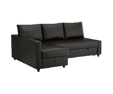 Ikea Leather Sleeper Sectional w/ Storage in Bomstad Black