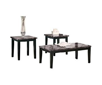 Flash Furniture Modern Marble-Style Coffee + 2 End Tables