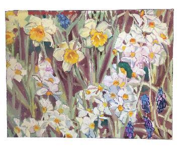 Daffodils & Lupins David Beynon Pena Original Oil Painting