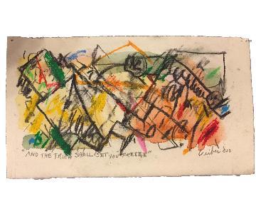 Original Signed Gerson Leiber Mixed Media Abstract Art