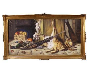 Italian Signed Still Life Painting Oil on Canvas