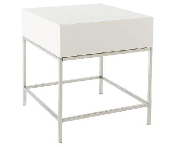 West Elm White Lacquer Storage Side Table