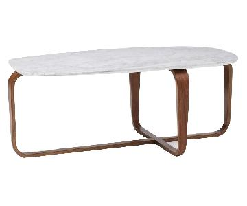 West Elm Leigh Coffee Table in Marble/Walnut