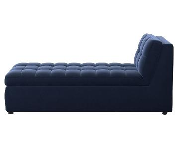 West Elm Plateau Performance Velvet Ink Blue Storage Chaise