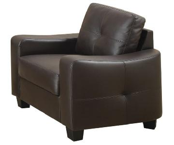 Brown Bonded Leather Armchair w/ Curved Arms & Tufted Back