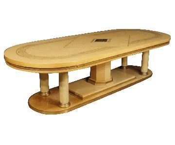 20th Century Inlaid Brass & Wood Italian Table