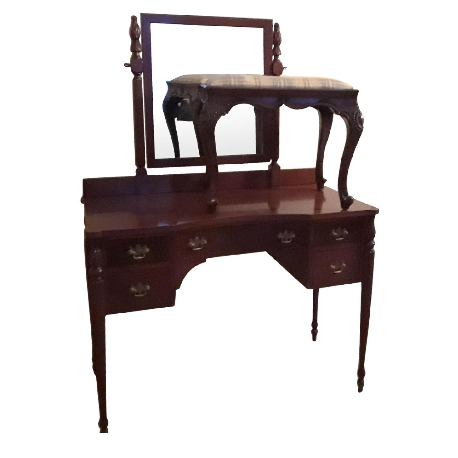 Vintage Vanity/Dressing Table w/ Stool & Mirror