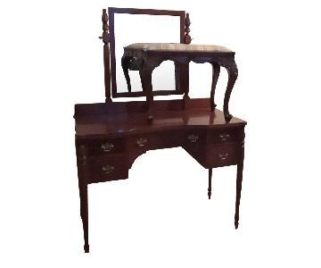 Vintage Vanity/Dressing Table w/ Stool & Mirror