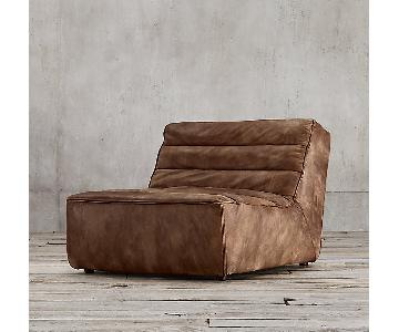 Restoration Hardware Chelsea Leather Armless Chair