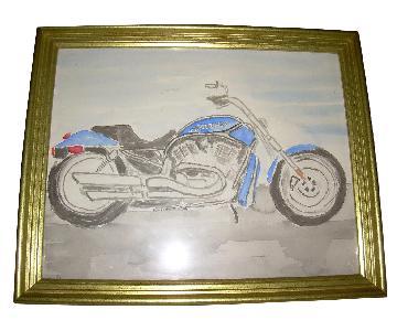 Watercolor of Harley-Davidson V Rod
