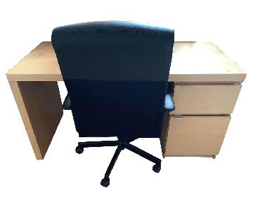 Wooden Desk w/ Drawers & Chair