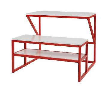 The Land of Nod New School Desks w/ Benches in Red/White