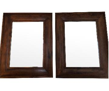 Pottery Barn Brown Wood Frame Mirrors