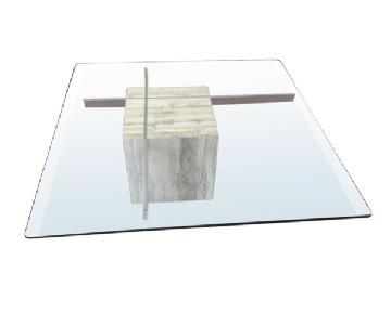 Italian Marble & Glass Top Coffee Table