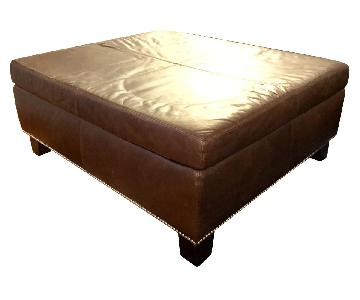 Pottery Barn Leather Ottoman/Coffee Table