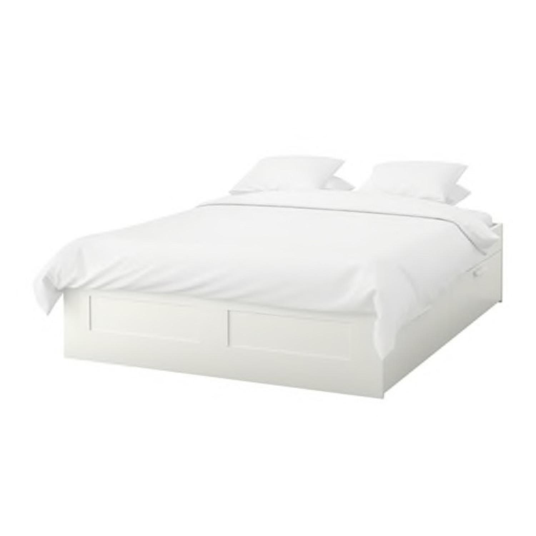 Ikea Brimnes Queen Size Bed Frame w/ Storage - AptDeco
