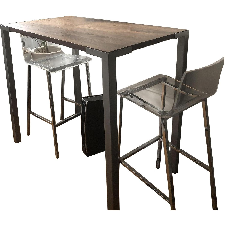 CB2 Stilt Dining Table w/ 2 Vapor Lucite Stools