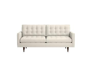 Crate & Barrel Chalk Petrie Mid Century Sofa