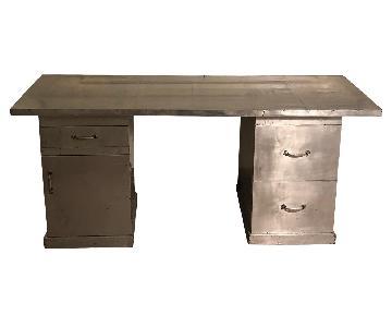 Vintage Custom Made Industrial Steel Art Desk