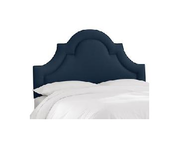 One Kings Lane King Frame w/ Kennedy Arched Navy Headboard