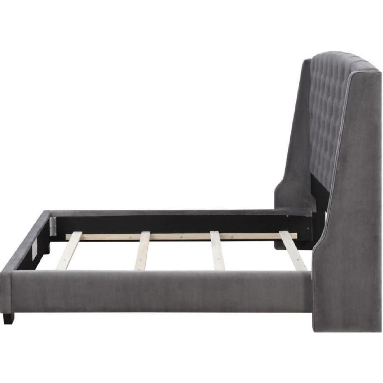 King Size Upholstered Bed in Grey Velvet Fabric-0