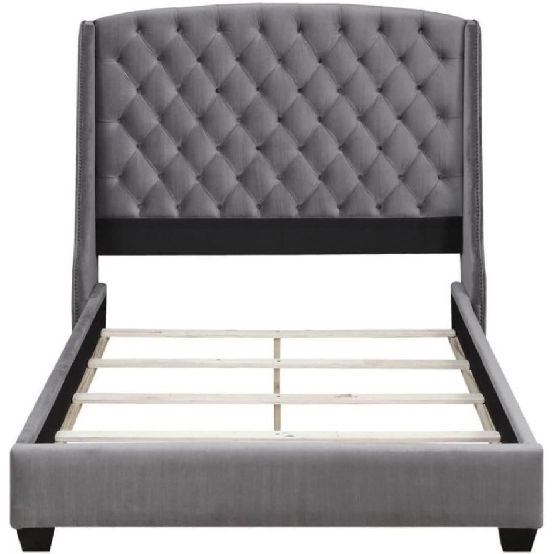King Size Upholstered Bed in Grey Velvet Fabric-1