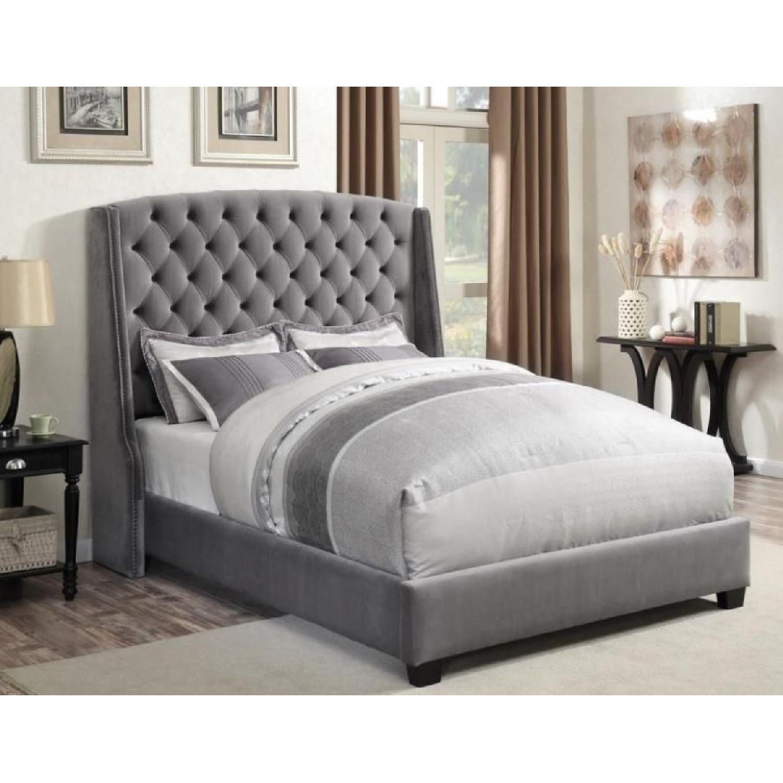 King Size Upholstered Bed in Grey Velvet Fabric-3