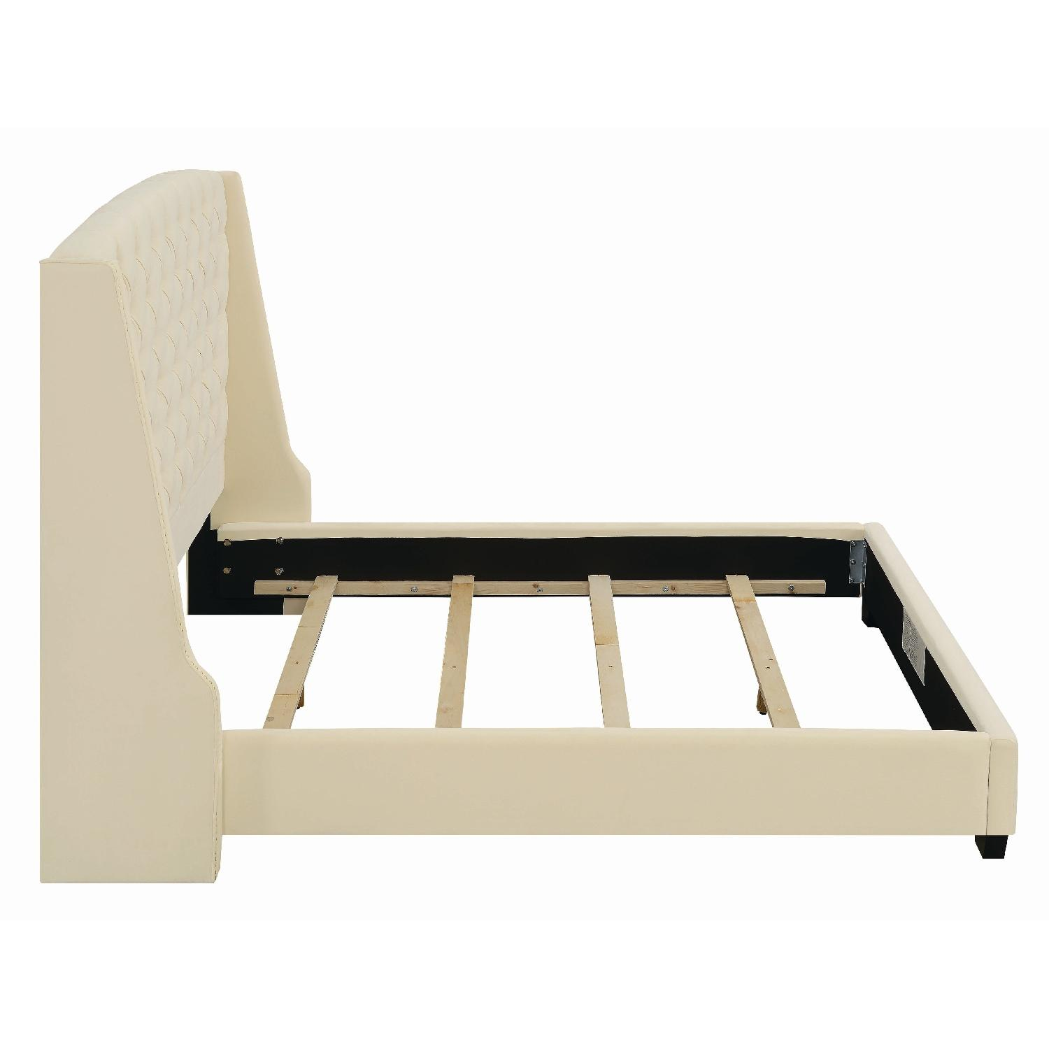 King Size Upholstered Bed in Cream Velvet Fabric-2