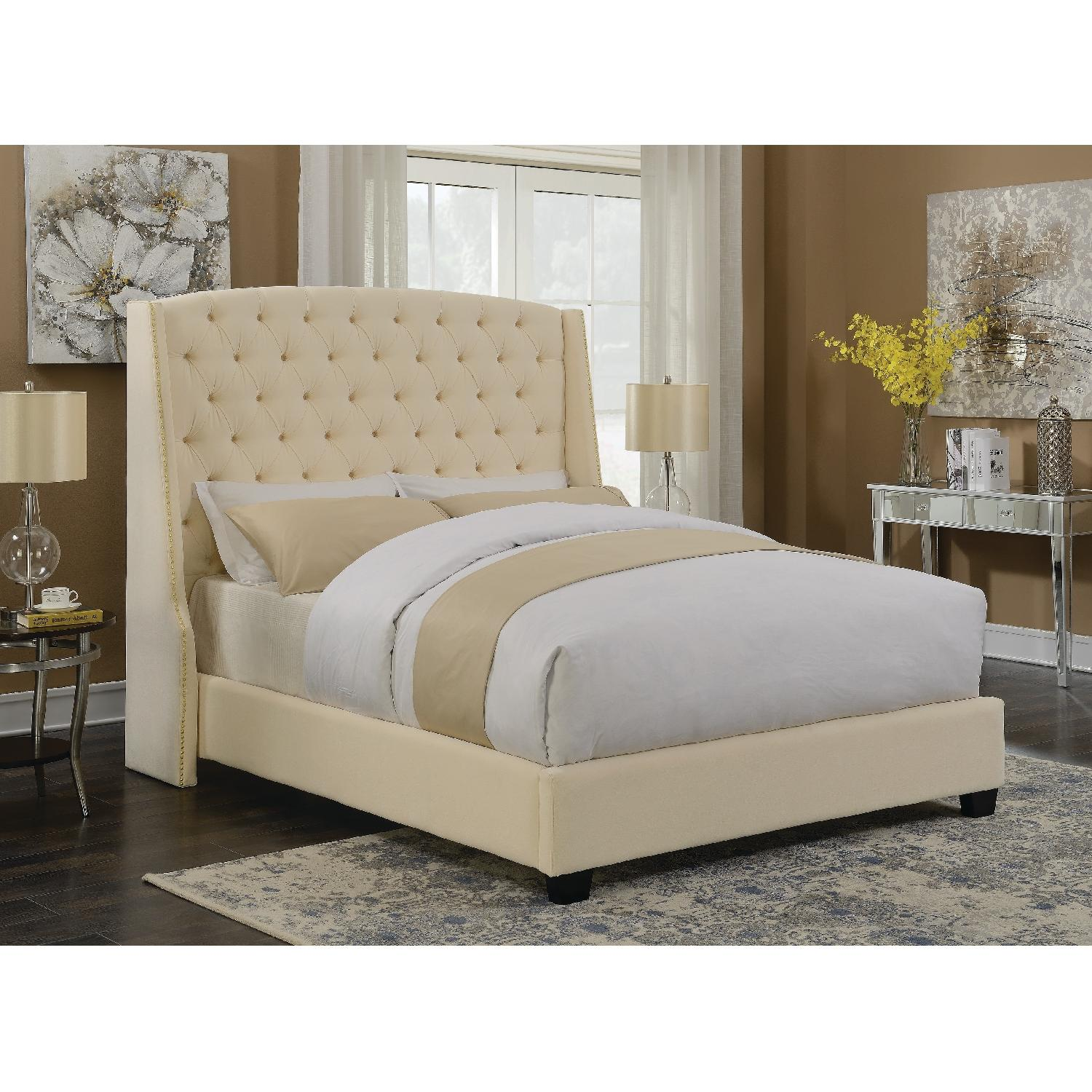 King Size Upholstered Bed in Cream Velvet Fabric-3