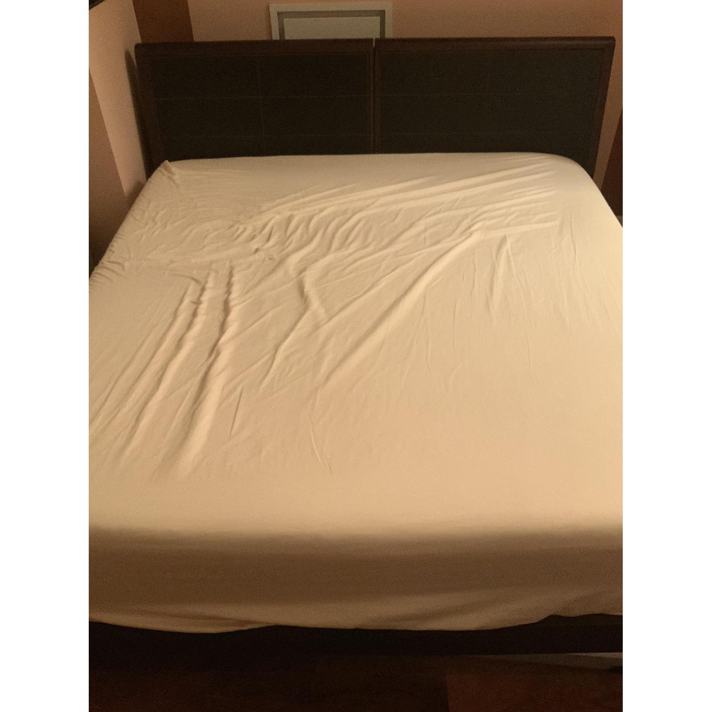 Dark Wood & Faux Leather King Bed w/ Storage
