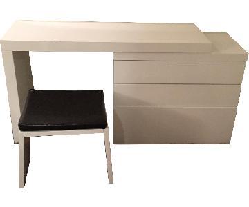 White Dresser/Vanity w/ Mirror & Stool