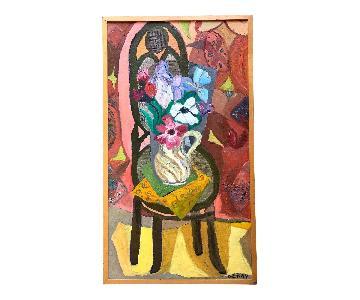 Mid Century Painting Still Life Modernist Flowers