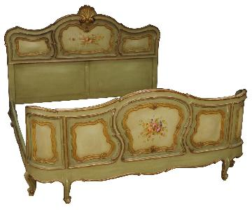 20th Century 1960 Painted & Gilt Wood Italian Double Bed